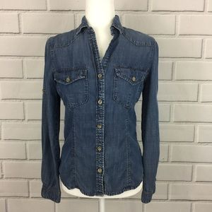 Anthropologie Cloth & Stone Chambray Denim Top
